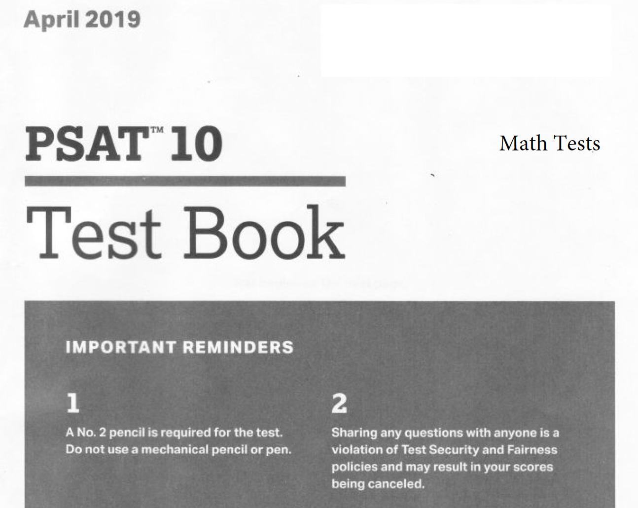 April 2019 PSAT 10 Test - Math tests