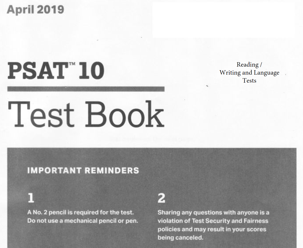 April 2019 PSAT 10 Test - Reading - Writing and Language Version