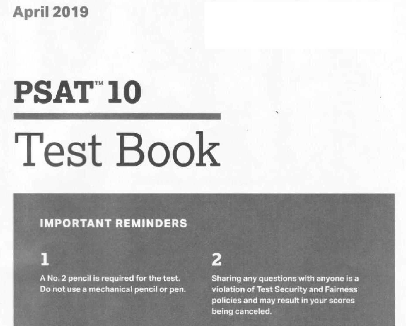 April 2019 PSAT 10 Test