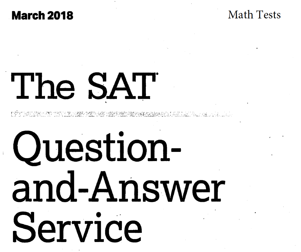 March 2018 SAT Math Tests