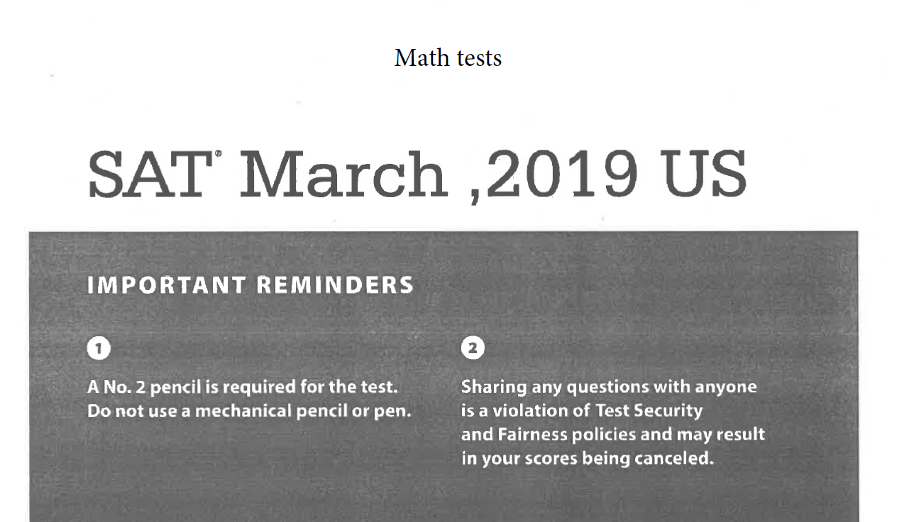 March 2019 SAT - Math Tests
