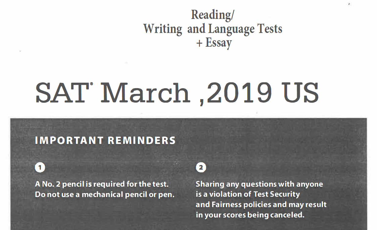 March 2019 SAT Test - Reading - Writing and Language Tests - Essay