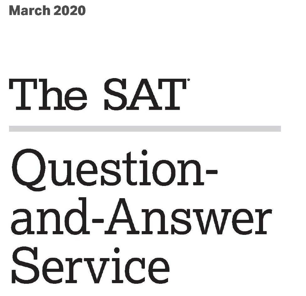 March 2020 SAT Test Cover