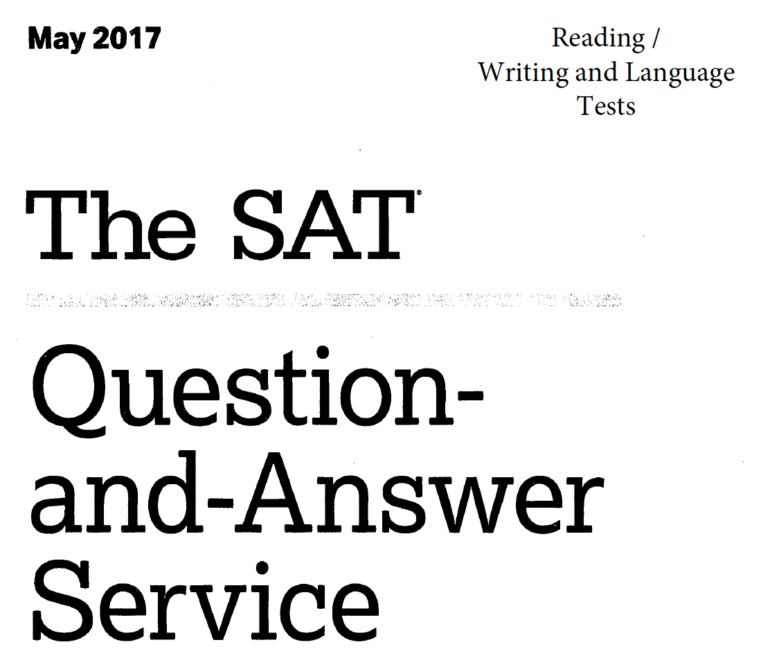 May 2017 SAT Test - Reading - Writing and Language