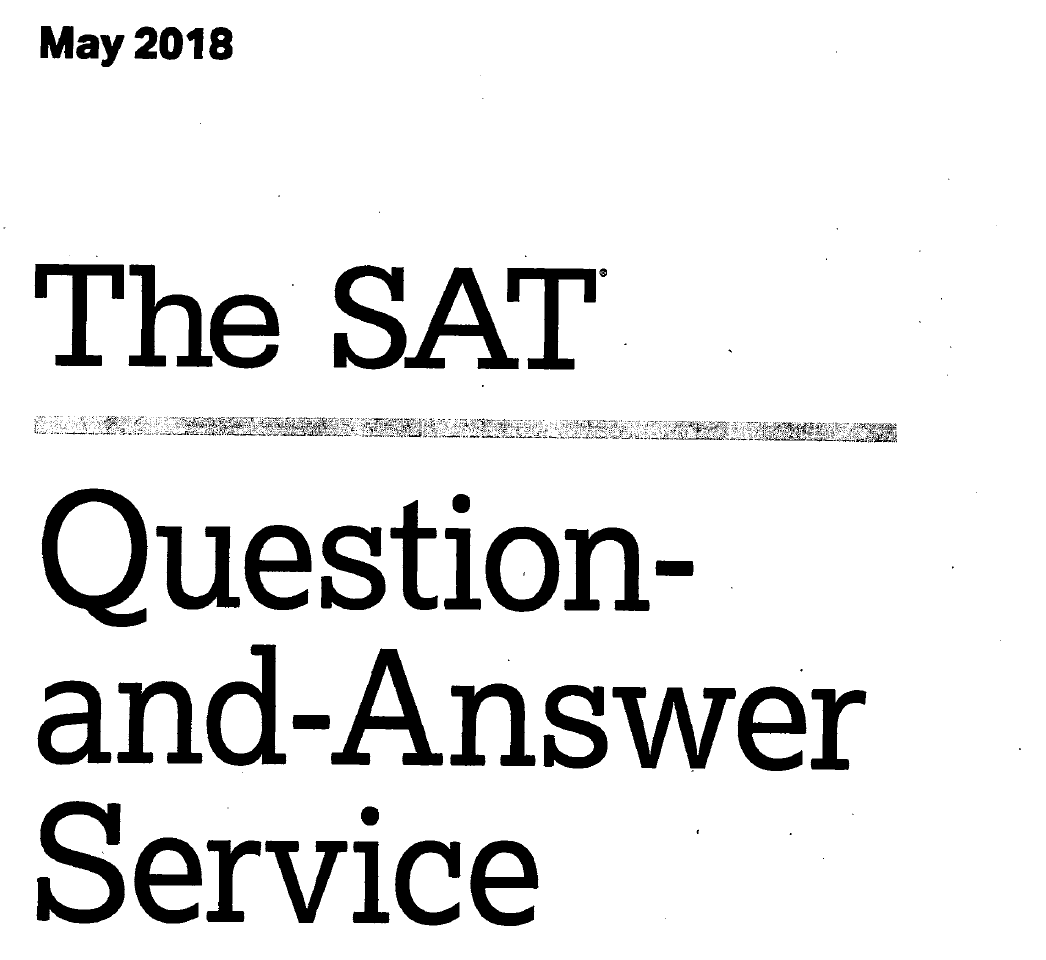 May 2018 US SAT Test
