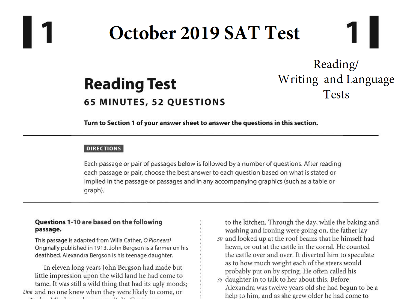 October 2019 SAT test - Reading - Writing and Language Version