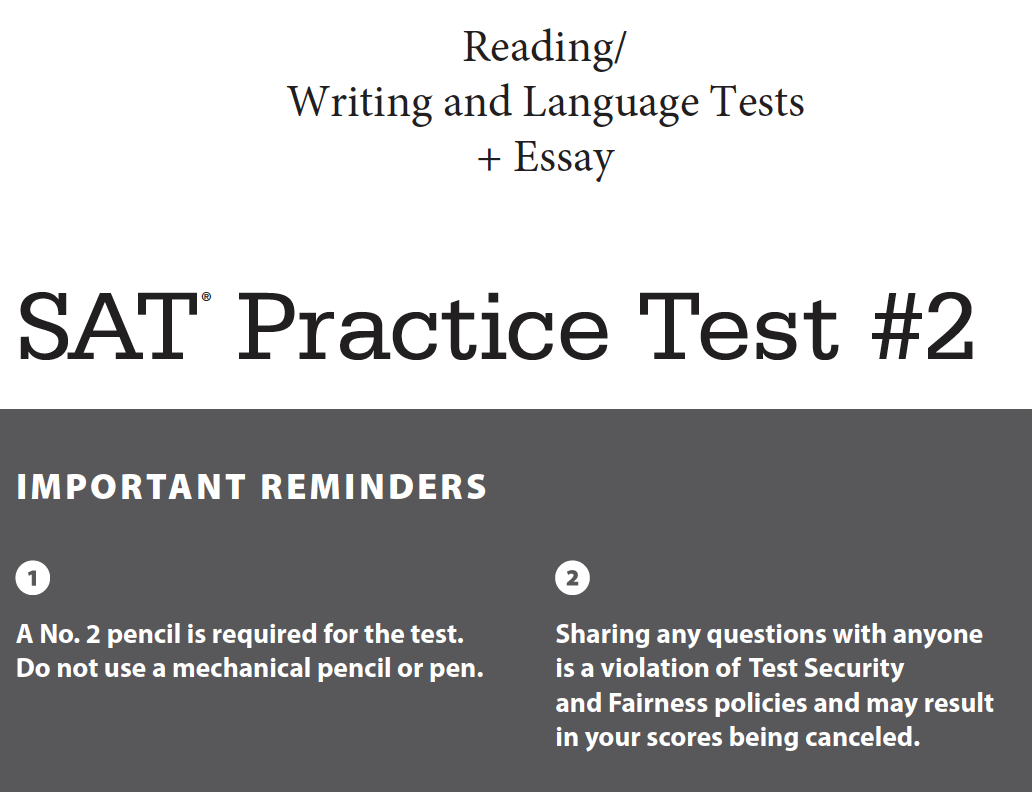 SAT Practice Test 2 - Reading - Writing and Language - Essay