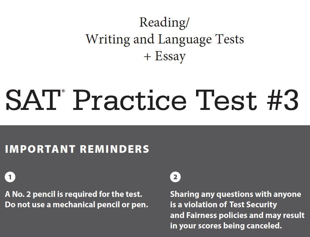 SAT Practice Test 3 - Reading - Writing and Language - Essay