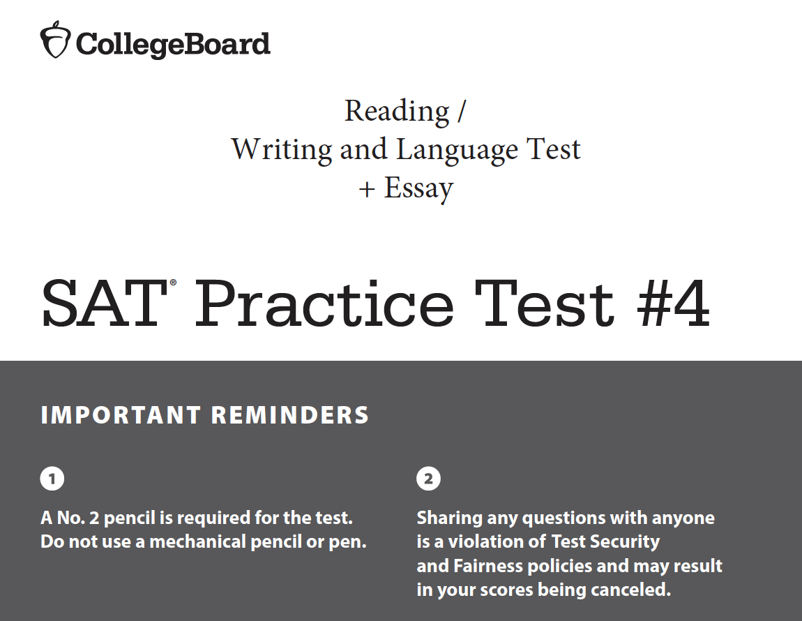 SAT Practice Test 4 Reading - Writing and Language - Essay