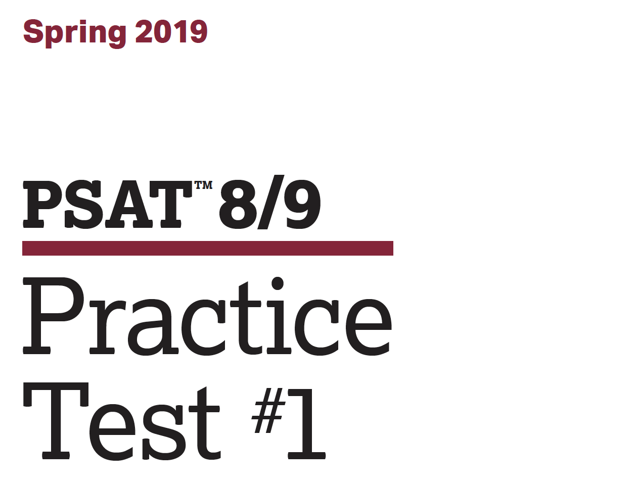 Spring 2019 PSAT 8-9 Test
